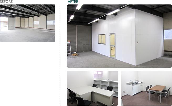 さいたま市 / 事務所兼倉庫新設工事 事務所スペース